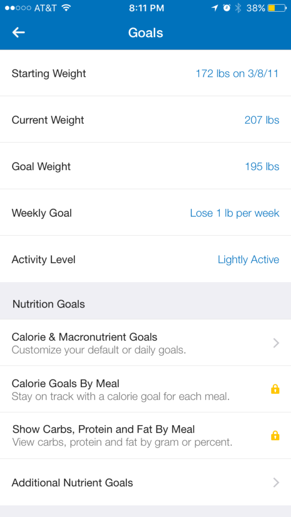 weight tracking in myfitnesspal