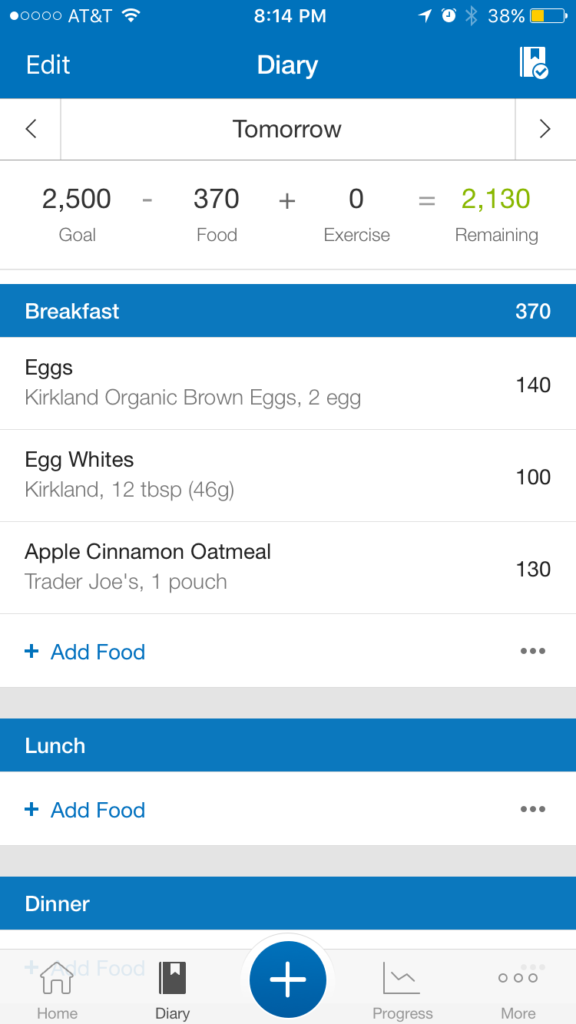 log food in phone app